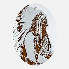 Native American Chief Oval Ornament
