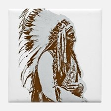 Native American Chief Tile Coaster