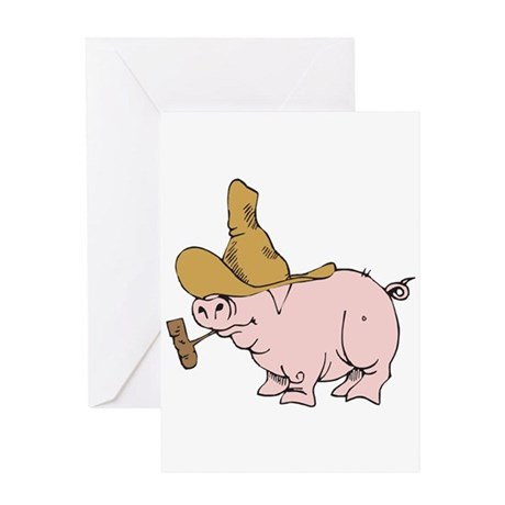 Hillbilly Country Pig Greeting Card
