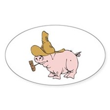 Hillbilly Country Pig Oval Decal