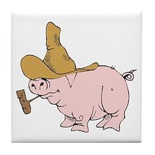 Hillbilly Country Pig Tile Coaster
