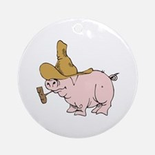 Hillbilly Country Pig Ornament (Round)