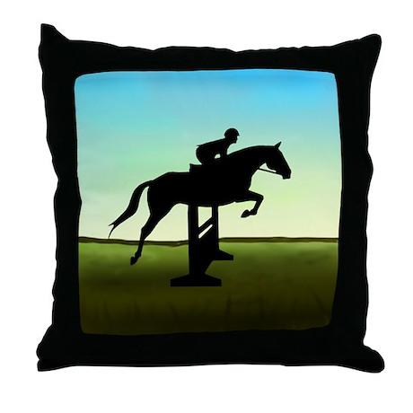 Hunter Jumper Grassy Field Throw Pillow