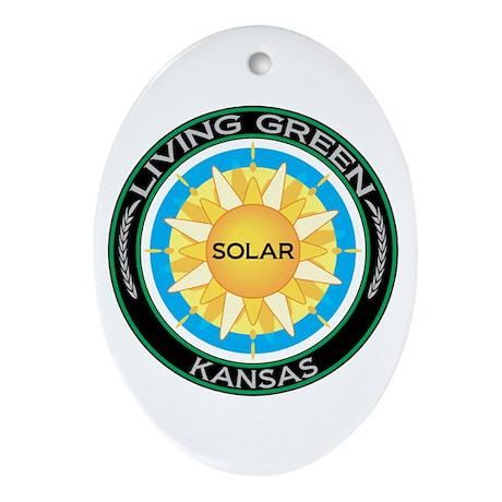 Living Green Kansas Solar Energy Oval Ornament