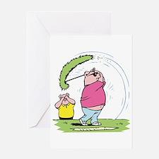 Funny Golfing Pig Greeting Card