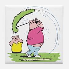 Funny Golfing Pig Tile Coaster