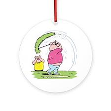 Funny Golfing Pig Ornament (Round)