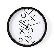 xoxo Heart Black Wall Clock