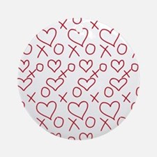 xoxo Heart Red Round Ornament
