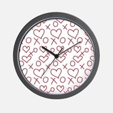 xoxo Heart Red Wall Clock