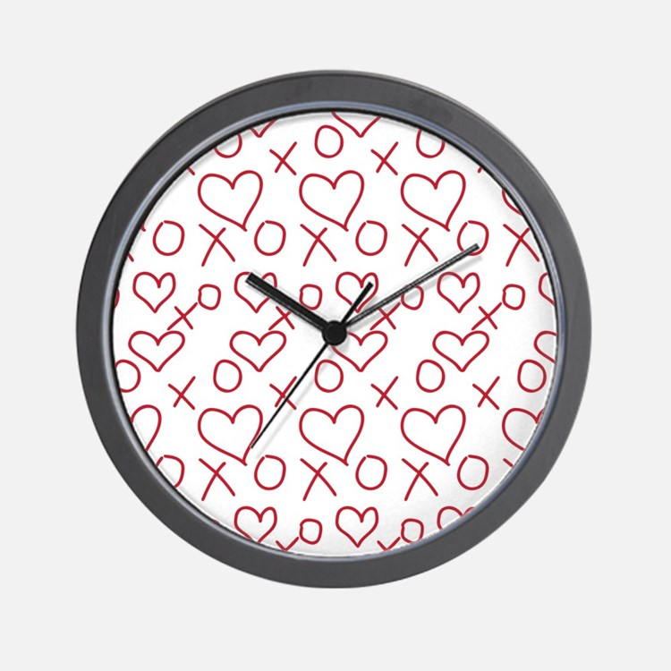 xoxo Heart Red Wall Clock