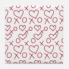 xoxo Heart Red Tile Coaster