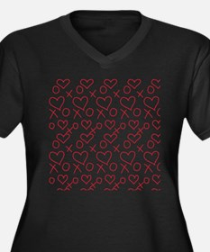 xoxo Heart Red Plus Size T-Shirt