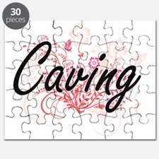 Caving Artistic Design with Flowers Puzzle