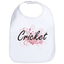 Cricket Artistic Design with Flowers Bib