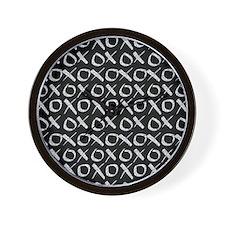 xoxo Silver Glitter Black Wall Clock