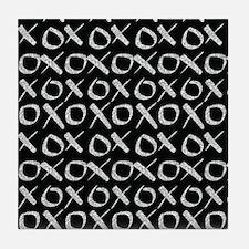 xoxo Silver Glitter Black Tile Coaster