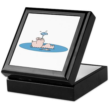 Cute Swimming Pig Keepsake Box