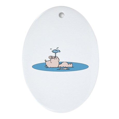 Cute Swimming Pig Oval Ornament