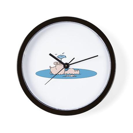 Cute Swimming Pig Wall Clock