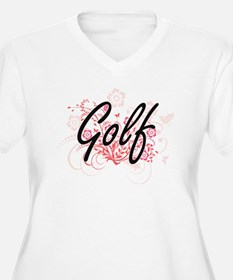 Golf Artistic Design with Flower Plus Size T-Shirt