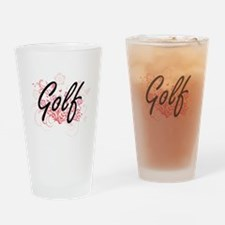 Golf Artistic Design with Flowers Drinking Glass