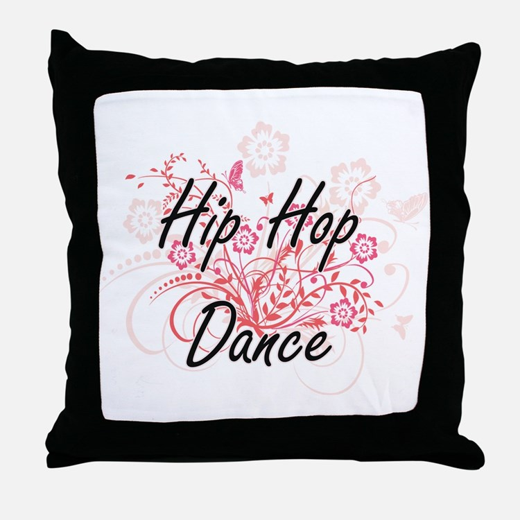 Hip Hop Dance Artistic Design with Fl Throw Pillow