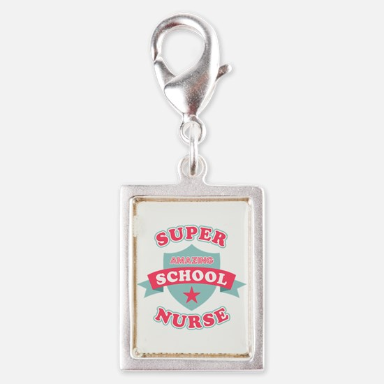 Super School Nurse Silver Portrait Charm