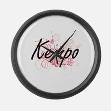 Kempo Artistic Design with Flower Large Wall Clock