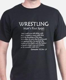 MAN'S FIRST SPORT Genesis 32:24-5 T-Shirt