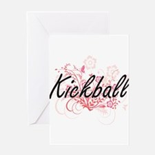 Kickball Artistic Design with Flowe Greeting Cards