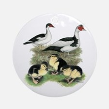 Muscovy Ducks Black Pied Round Ornament
