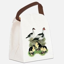 Muscovy Ducks Black Pied Canvas Lunch Bag