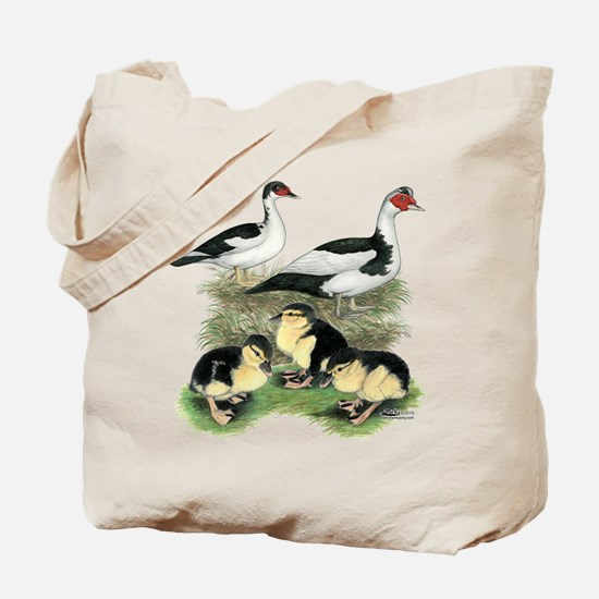 Muscovy Ducks Black Pied Tote Bag