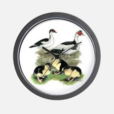 Muscovy Ducks Black Pied Wall Clock
