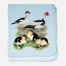 Muscovy Ducks Black Pied baby blanket