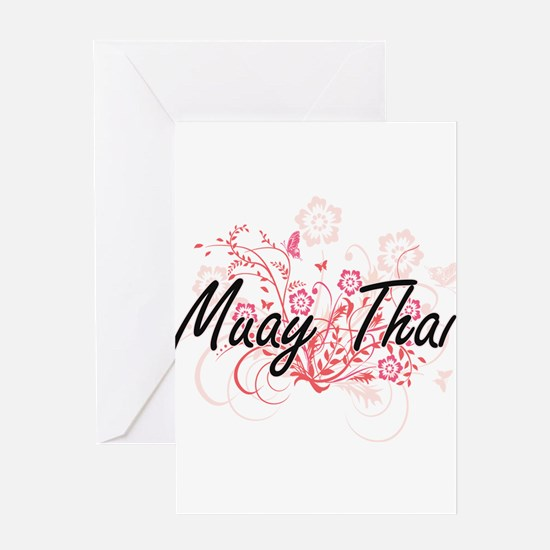 Muay Thai Artistic Design with Flow Greeting Cards