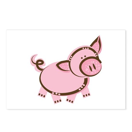 Pink/Brown Piggy Postcards (Package of 8)