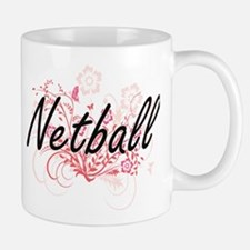 Netball Artistic Design with Flowers Mugs