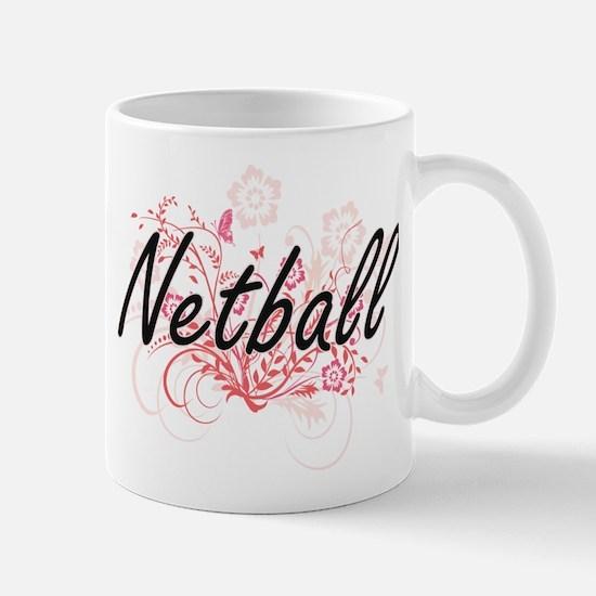 Netball Artistic Design with Flowers Mugs