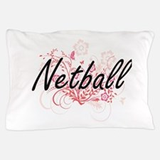 Netball Artistic Design with Flowers Pillow Case