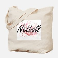 Netball Artistic Design with Flowers Tote Bag