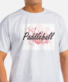 Paddleball Artistic Design with Flowers T-Shirt