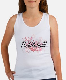 Paddleball Artistic Design with Flowers Tank Top
