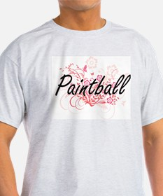 Paintball Artistic Design with Flowers T-Shirt