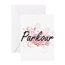 Parkour Artistic Design with Flower Greeting Cards