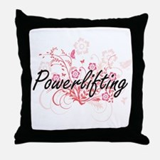 Powerlifting Artistic Design with Flo Throw Pillow