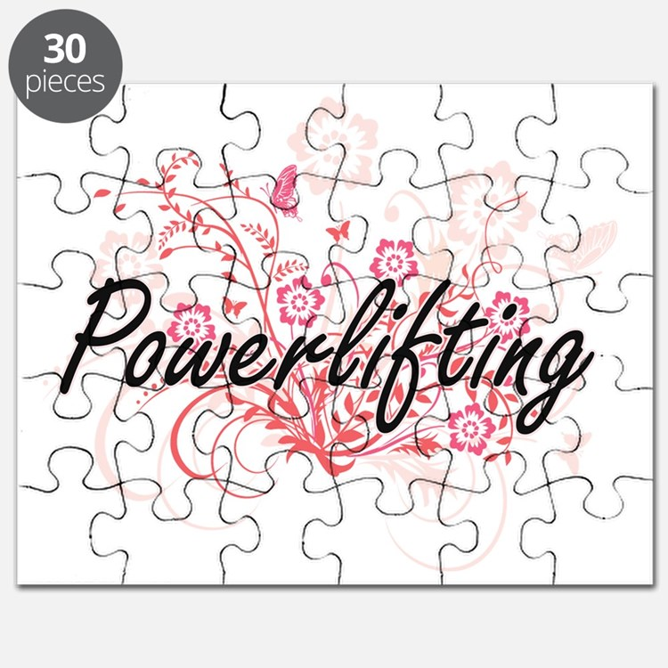 Powerlifting Artistic Design with Flowers Puzzle