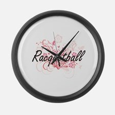 Racquetball Artistic Design with Large Wall Clock