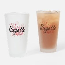 Ringette Artistic Design with Flowe Drinking Glass